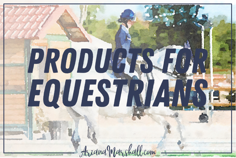 Title Products for equestrians on background of English rider dressage rider